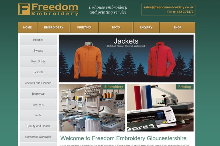 Freedom Embroidery website sceen grab